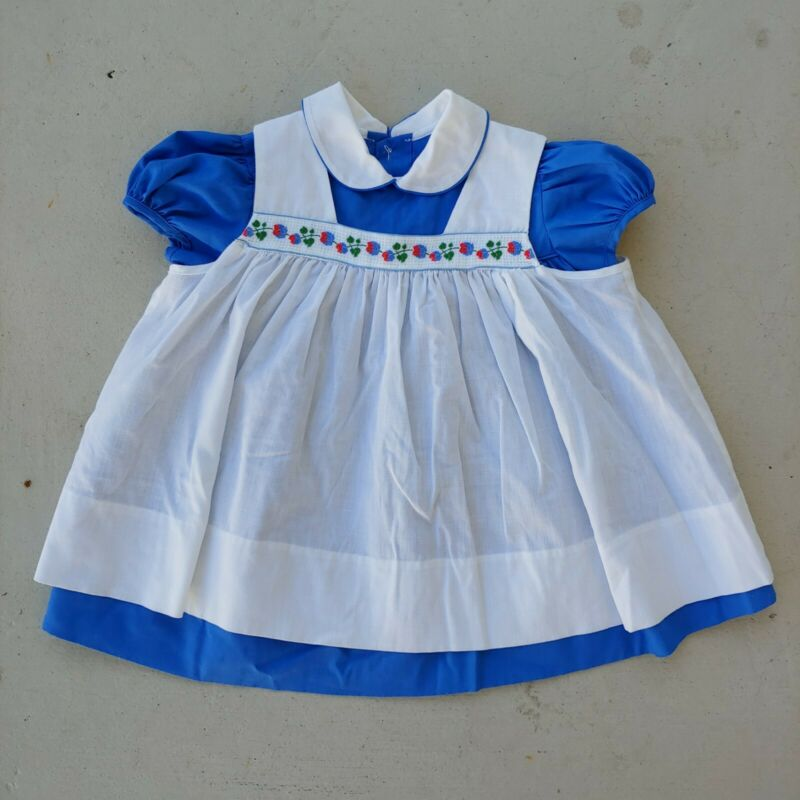 Vintage Saks Fifth Avenue Blue & White Pinafore Short Sleeve Dress Kids Size T 4