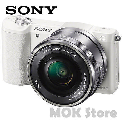 Sony Alpha a5100 24.3 MP Digital Camera E PZ OSS 16-50mm Lens Kit - White