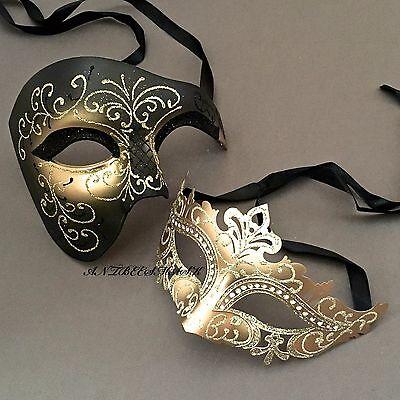 Black Gold Phantom Venetian Delicates Masquerade Halloween Ball Dress up Masks