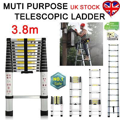 12.5FT/3.8M Multi-Purpose Aluminium Telescopic Ladder Extendable Steps Extension