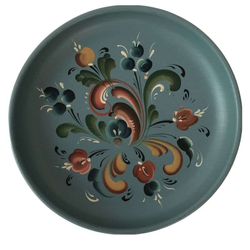 "Rosemaling Hand Painted Norwegian Wood Plate 9.5"" Wall Hanging Blue Low Bowl Art"