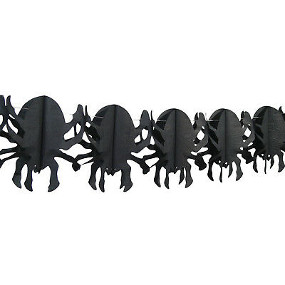 4m Haunted Halloween Gothic Black Spider Hanging Paper Garland Decoration