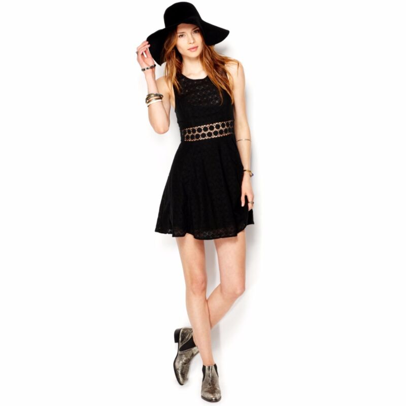 Free People Fitted With Daisies Daisy Waist Fit -N- Flare Black Dress M 8