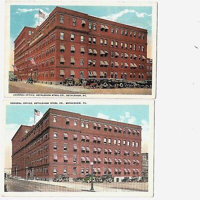 Postcards: Bethlehem Steel PA General Office Building-2 variations -similar view