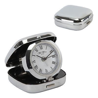 NEW Vintage Metal Silver Case Fold Up Travel Quartz Alarm Clock Folding Bedside