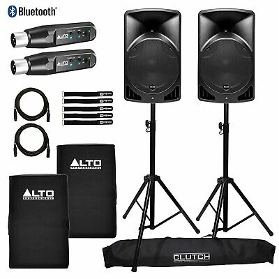 "Alto TX15USB 15"" Active Powered DJ PA Speakers w Bluetooth Receivers Package"