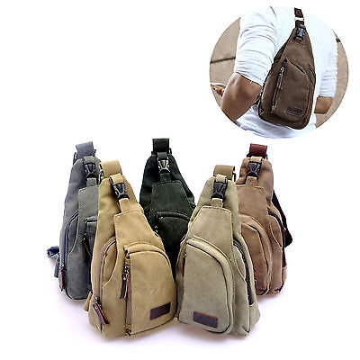 Men Small Pack Summer Canvas Sling Waterproof Messenger Shoulder Bag Chest Bag
