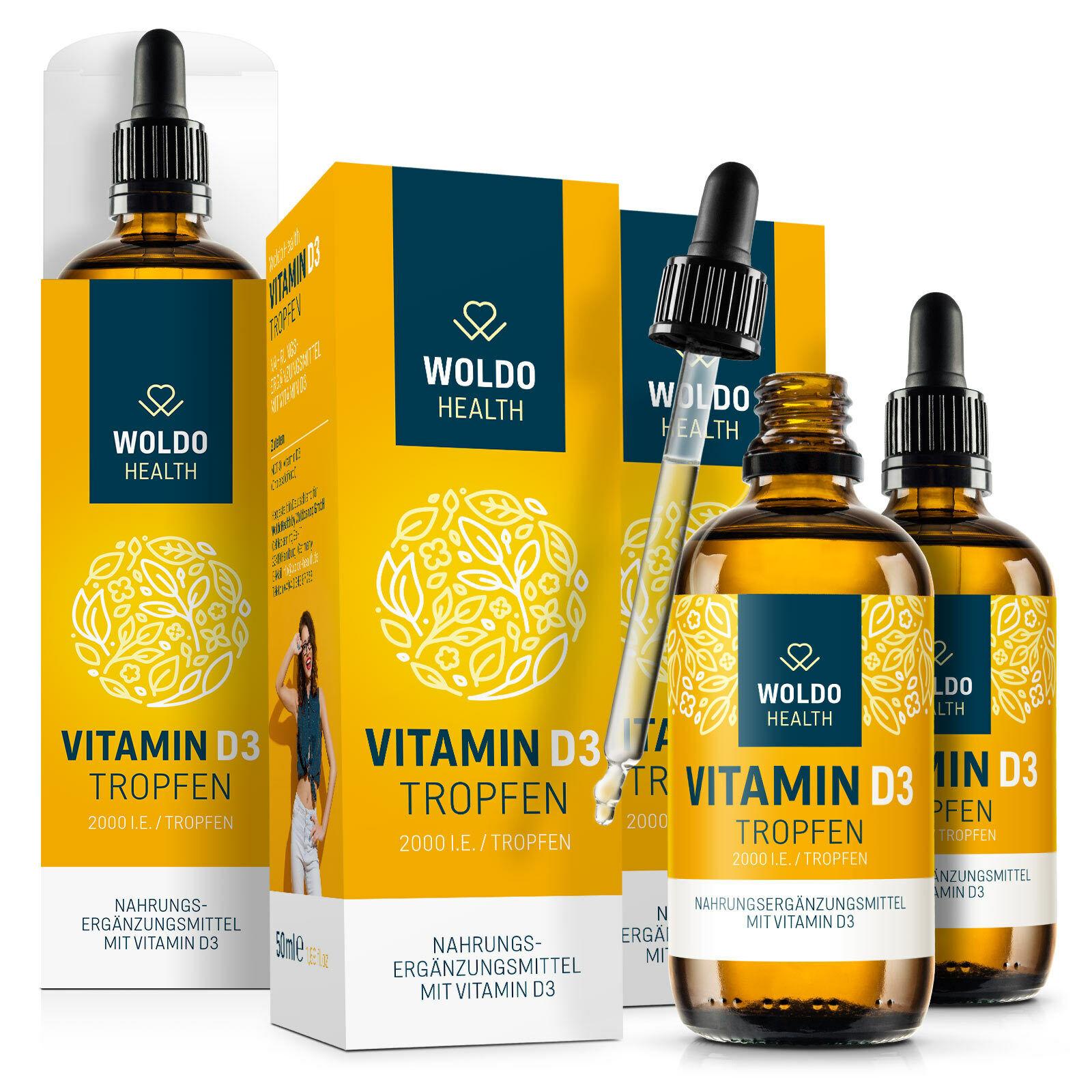 Vitamin D3 Tropfen 2.000 I.E. 50µg hochdosiert - MCT Öl aus Kokosöl 3x 50ml