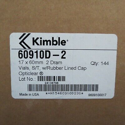 Pack 144 Kimax 2 Dram Glass Sample Vials Rubber-lined Screw Cap 60910d-2
