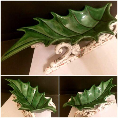 Green Holly Leaf Ceramic Sleigh Sled Serving Dish Nut Dish Figure