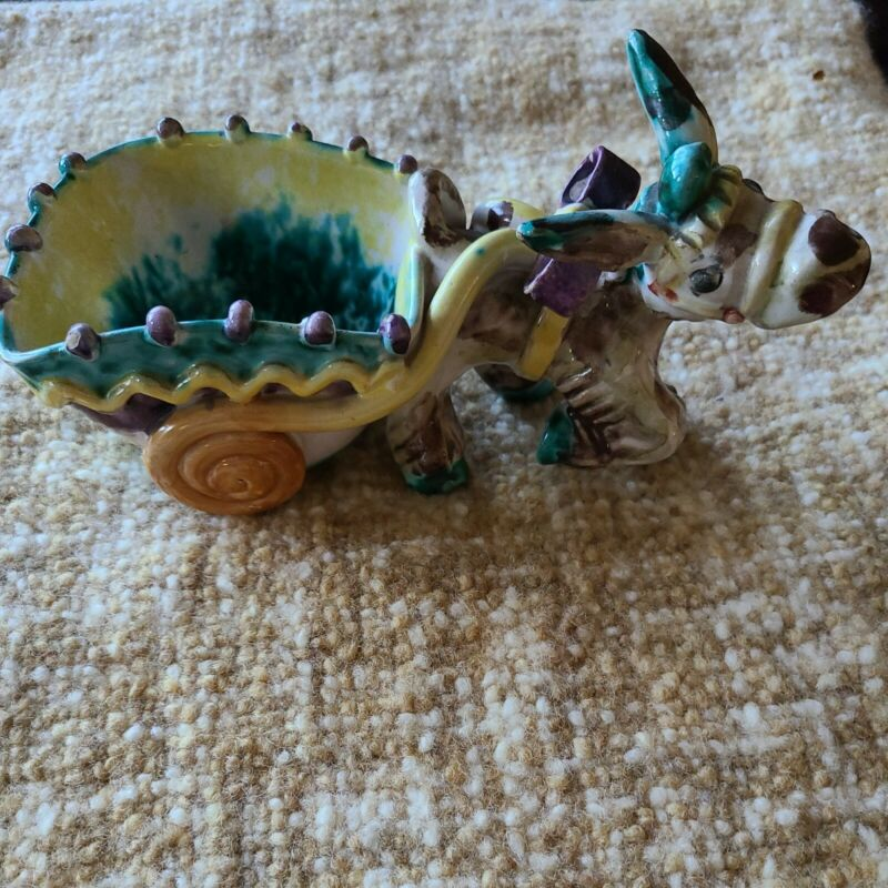 VINTAGE DONKEY WITH CART CERAMIC POTTERY  ITALY M.C.