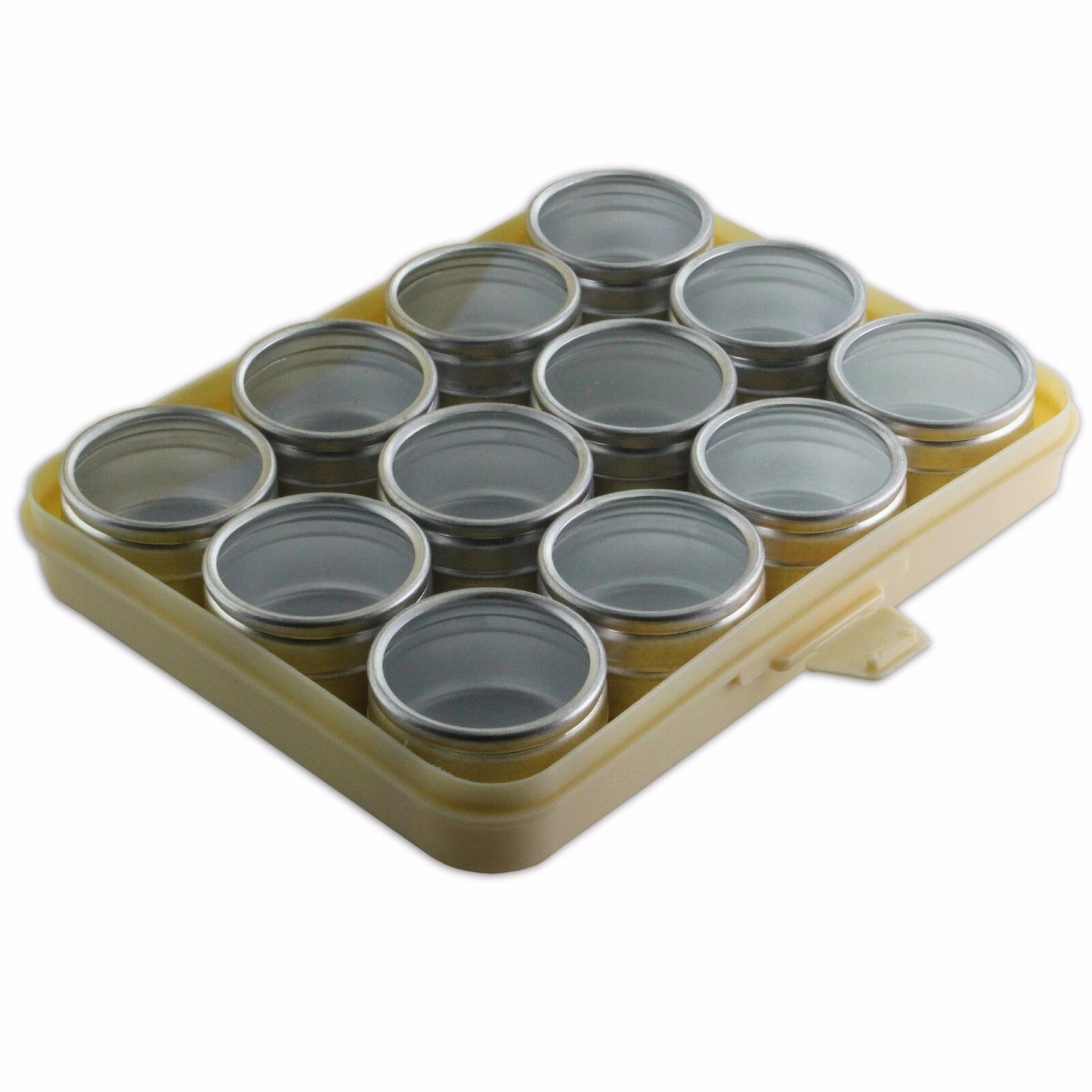 1x Aluminium 12 Clear Storage Boxes in Tray 53mm Dia Pots Findings S7539 Beads