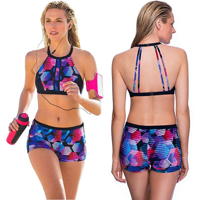 Women Sports Tankini Set Boy Shorts Swimsuit Bikini Swimwear Bathing Suit Summer - $14.43