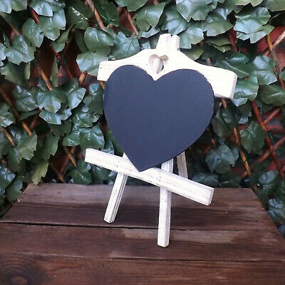 Blanco Lavado Corazón Madera Pizarra Negra para Tiza Caballete Stand Boda Hogar