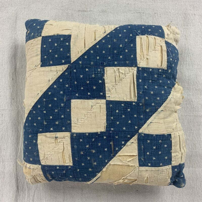Vtg Antique Hand Stitch Home Made Quilt Pillow Indigo Calico Fabric Shabby Chic