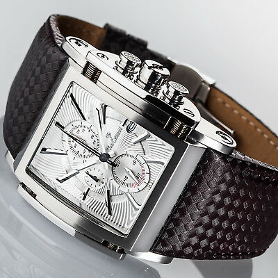 YVES CAMANI ESCAUT Herrenuhr Chronograph Edelstahl Silber Lederarmband Neu online kaufen