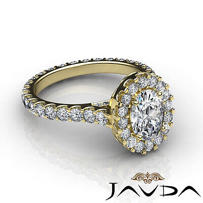 2.5 ct Oval Diamond Engagement 14k White Gold F VS2 Clarity GIA Halo Pave Ring 10