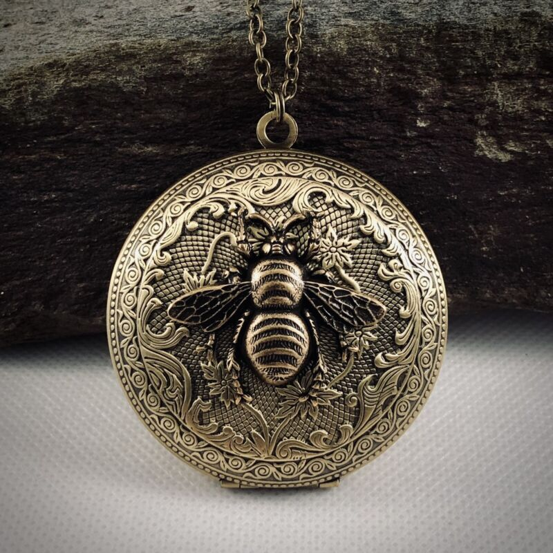 Large BUMBLEBEE HONEY BEE Vintage LOCKET NECKLACE -  gr8 QUALITY VICTORIAN GIFT