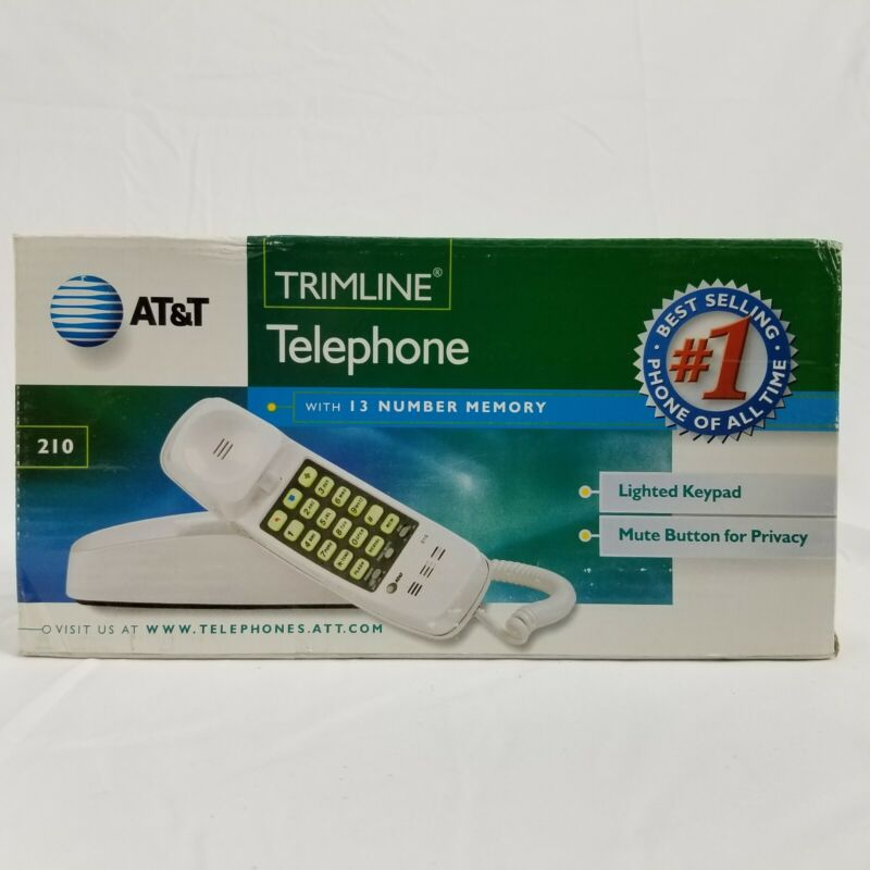 AT&T Basic White Corded Trimline Phone Desk Wall Retro New Telephone ATT210-WH