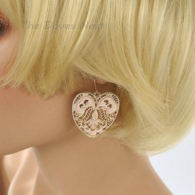 MUDD Gold Tone DANGLE HEART Shape Light PINK EARRINGS Open SCROLL - Open Scroll Design Earrings