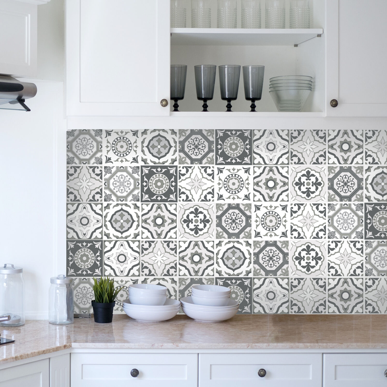 Traditional tile stickers transfers for kitchen bathroom for Bathroom tile stickers