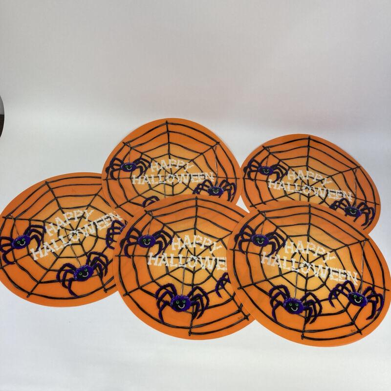 "5pc Set Halloween Spider Place Mat 15"" Totally Ghoul VTG Y2K 2000s Vinyl Plastic"