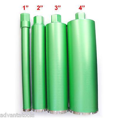 """1"""", 2"""", 3"""" & 4"""" Combo - Wet Diamond Core Drill Bit for Concrete - Premium Green"""