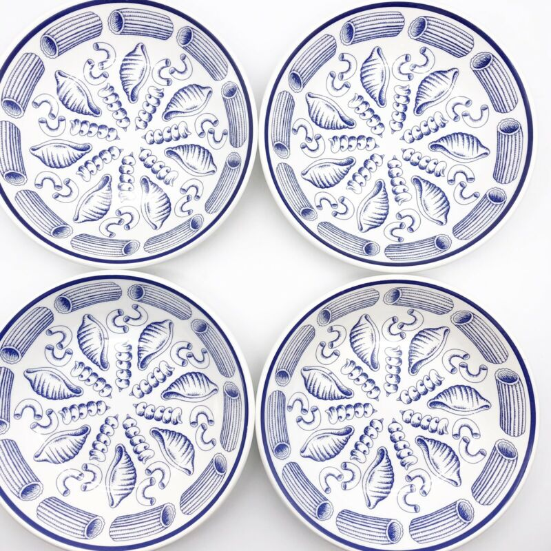 "La Primula SRL Lot of 4 Cobalt Blue White Pasta Soup Cereal Bowls  8 3/8"" Italy"
