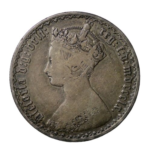 1860 Great Britain Silver Gothic Florin 2 Shillings Queen Victoria Coin KM#746.1