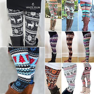 Women Leggings Warm Winter Snowflake Xmas Slim Fit Stretch Pencil Pants Trousers