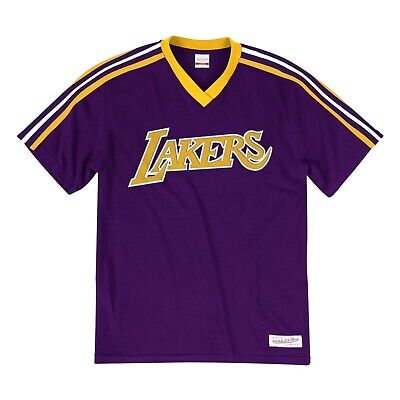 New Mitchell & Ness Los Angeles Lakers Purple Overtime Win Vneck Tshirt NBA