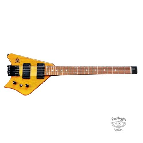 Bootlegger Guitar Spade Honey Wood Finish Headless Electric Custom Hard Case