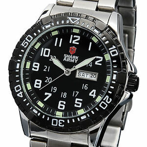 Mens-Black-Dial-SHARK-ARMY-Military-Day-Date-Analog-Quartz-Steel-Sport-Watch