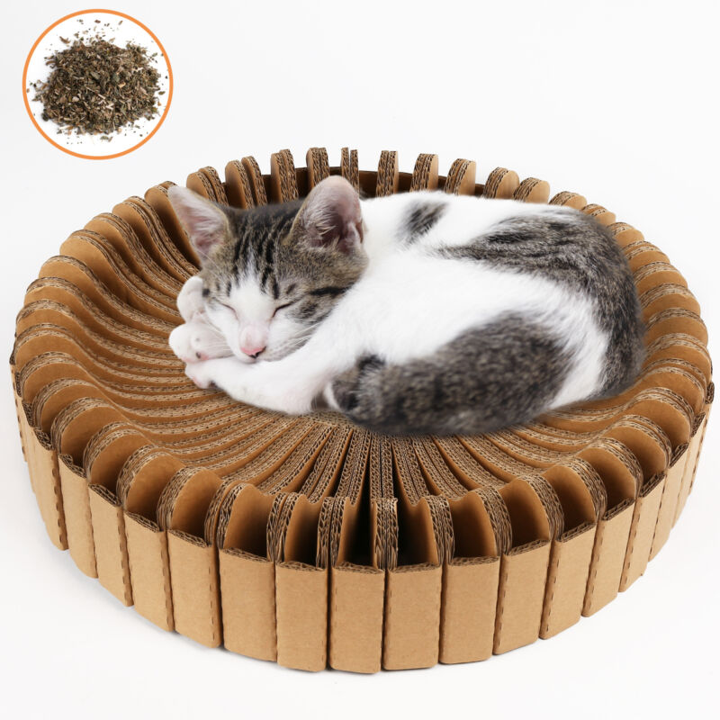 Cat Scratching Post Lounge Relaxing Bed Scratcher Cardboard w/ Catnip Board Pad