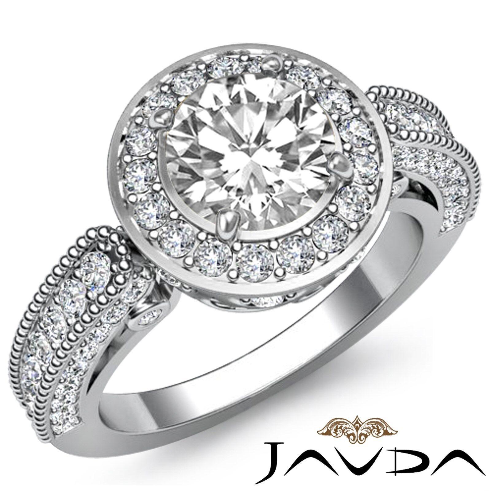 Halo Filigree Design Pave Round Diamond Engagement Milgrain Ring GIA F VS1 2.5Ct