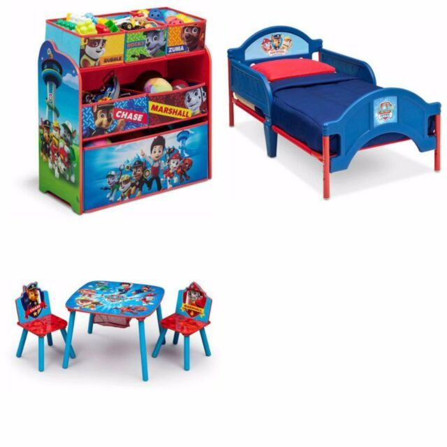 Toddler Bedroom Set Furniture Paw Patrol 3 Piece Bed Toy Organizer ...