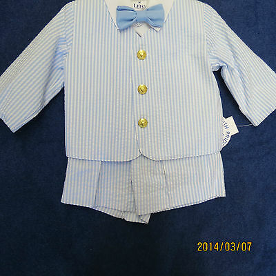 Boys Eaton Suit - Lito boys 4pc eaton suit size 3T Lt. blue  w/white new w/tags, short pants