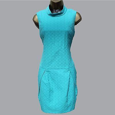 NWT UK 10  Karen Millen Aqua Green Jacquard Low Waist Casual Evening Tulip Dress