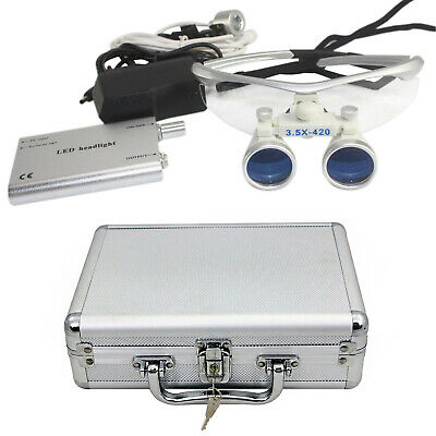 3.5x Dental Surgical Binocular Loupes And Portable Led Headlight W Aluminum Box