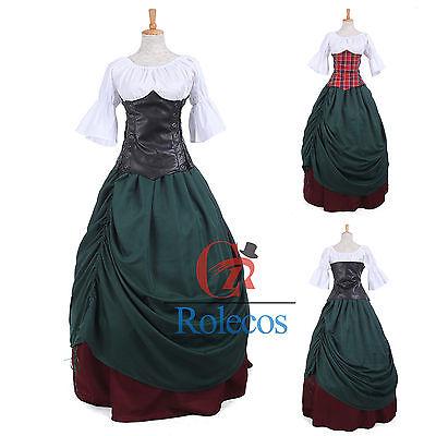Women Medieval Renaissance Bell Sleeve Corest Cosplay Dress Costume  (Bell Sleeve Womens Kostüm)