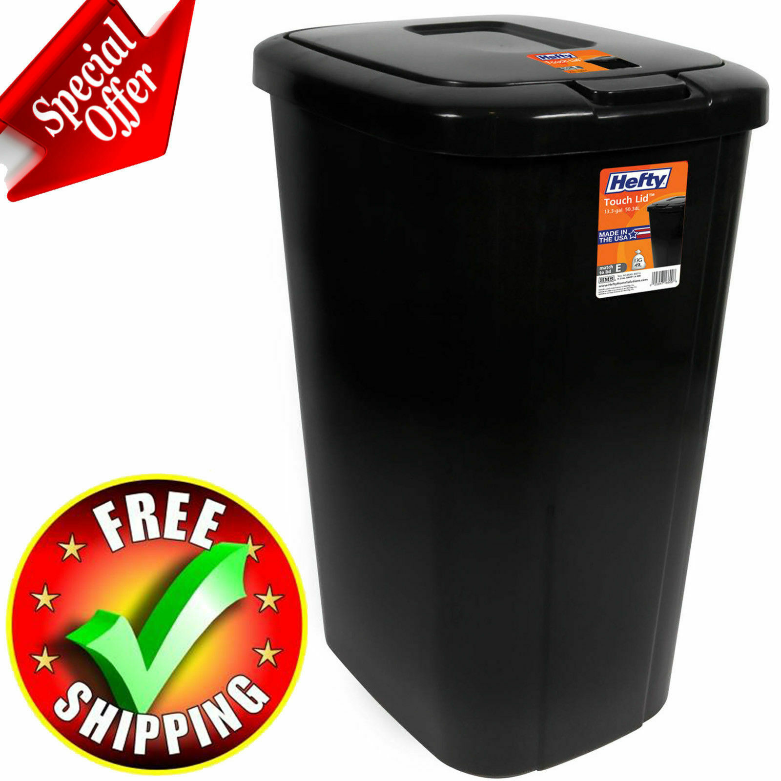 Trash Can 13 Gallon Kitchen Home Garbage Plastic Can Commerc