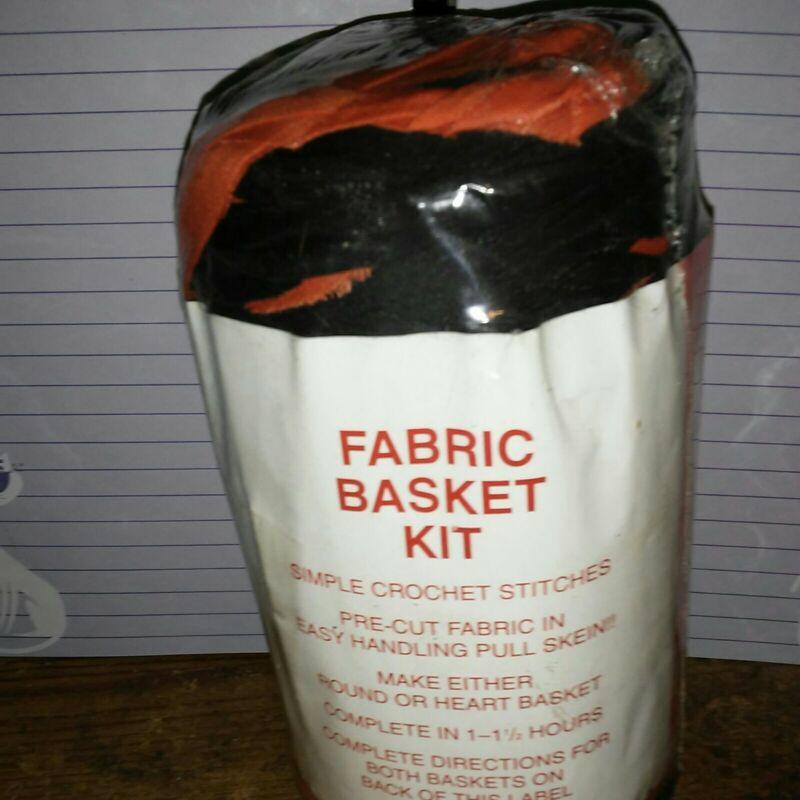 Rag Yarn Precut Fabric Strips Basket Kit 15oz Black Orange