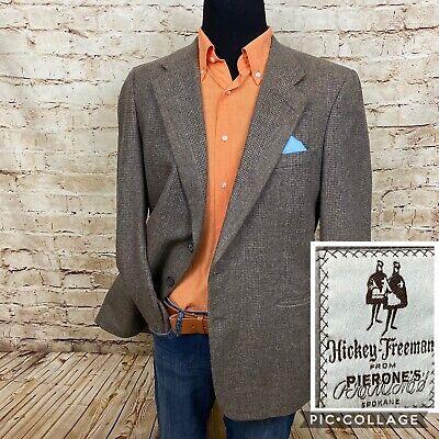 Hickey Freeman Boardroom Men's Tweed 2-Button Wool Blazer Jacket • 43 R