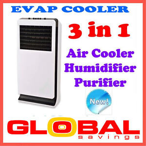 NEW 3 in 1 PORTABLE EVAPORATIVE AIR COOLER HUMIDIFIER PURIFIER AUTO SWING 3.3L