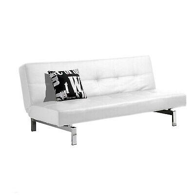 Sofá cama sistema clic clac, sofa tapizado polipiel patas cromadas, Blanco Chic