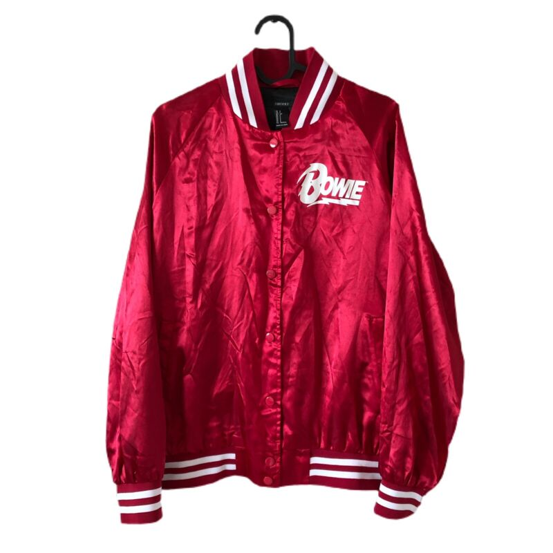DAVID BOWIE 2016 Licensed Archive Red Satin Bomber Jacket/Forever 21 Sz Small