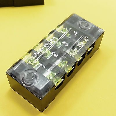 Covered Fixed Terminal Block Box 600V 15A 4 Ports Double Rows  ()