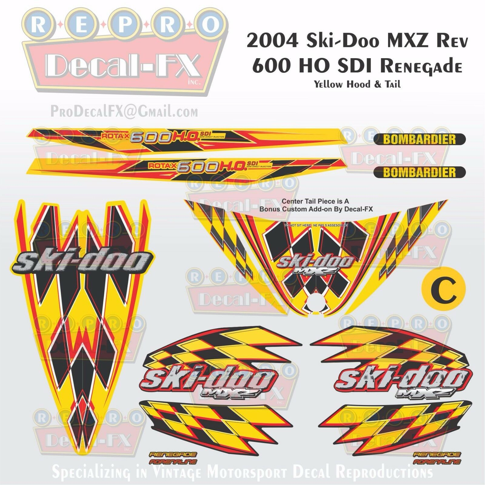 2004 Ski-doo MXZ600HO SDI Yellow Hood & Tail Rev Reproduction Vinyl Decals16Pc