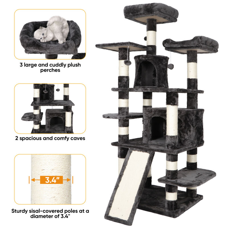 67 inches Multi-Level Cat Tree Cat Tower Condo Pet  Play House for Large Cats