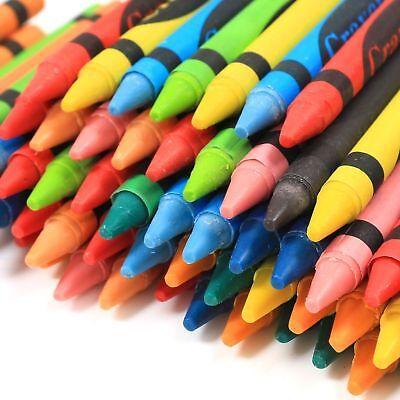 72 x Wax Crayons Pack Assorted Colours Kids Pencil School Children 2x Sharpeners